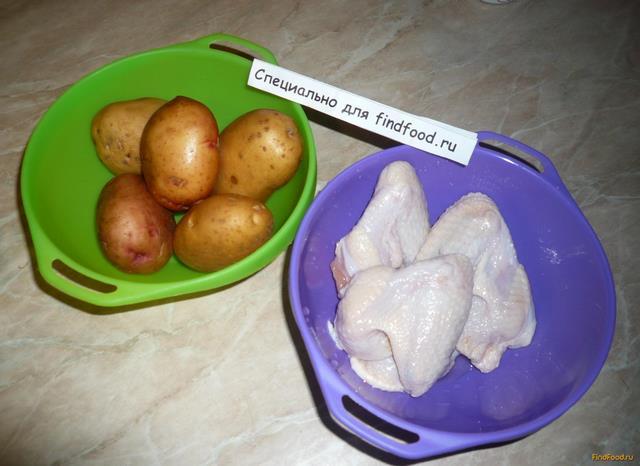 Запеченные куриные крылья с картошкой рецепт с фото 1-го шага