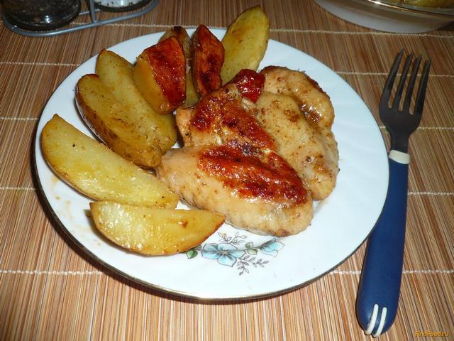 Рецепт Запеченные куриные крылья с картошкой рецепт с фото