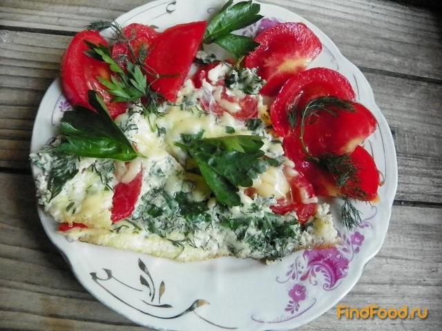 Рецепт Омлет с помидорами сыром и зеленью рецепт с фото