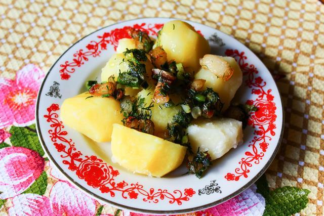 Рецепт Картофель с салом и зеленью рецепт с фото