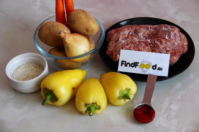 Фаршированный перец с овощами рецепт с фото 1-го шага