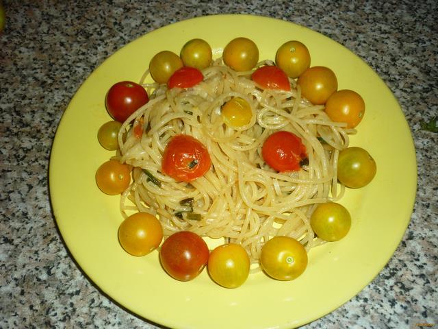 Рецепт Спагетти с помидорами черри рецепт с фото
