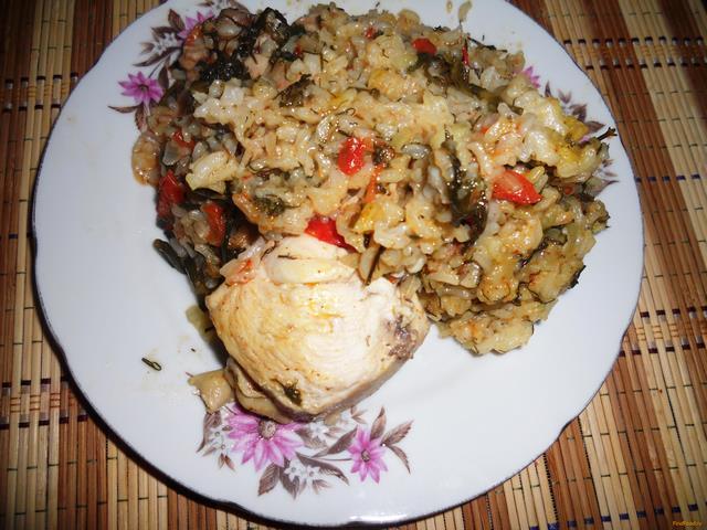 Рецепт Рис с курицей и томатами рецепт с фото