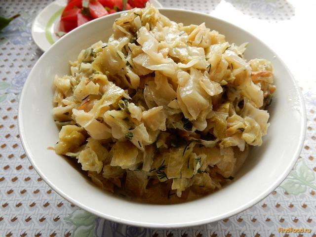 Рецепт Молодая капуста в сметане с зеленью рецепт с фото