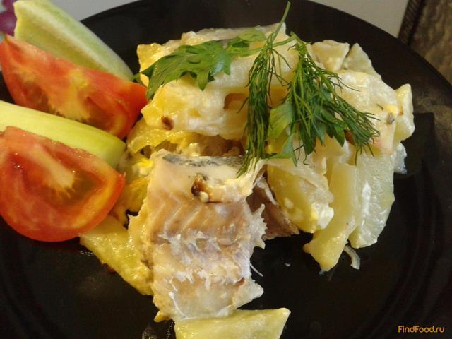 Рецепт Минтай с картошкой запеченный в духовке рецепт с фото