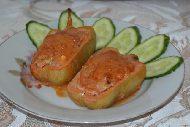 Рецепт Фаршированный перец запеченный в духовке рецепт с фото