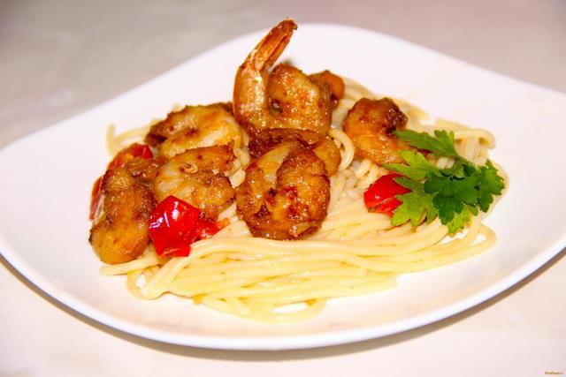 Рецепт Паста с креветками и помидорами рецепт с фото