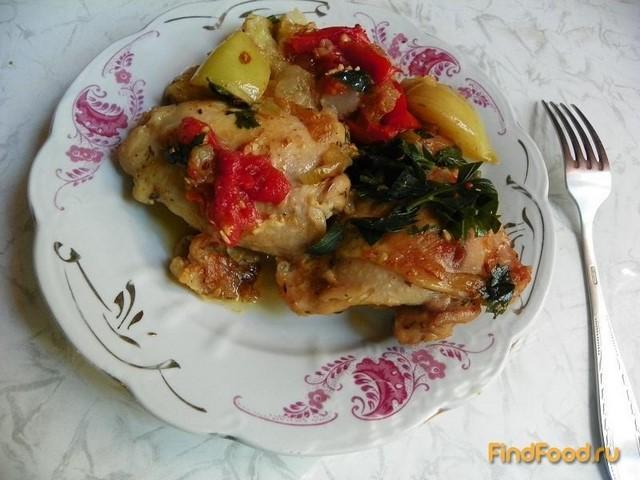 Рецепт Куриные окорочка с помидорами и яблоками рецепт с фото