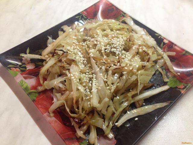Рецепт Жареная капуста с кунжутом рецепт с фото