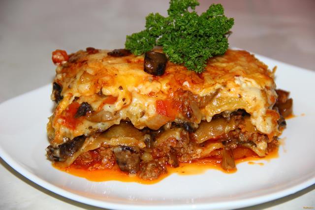 Рецепт Лазанья с фаршем и грибами рецепт с фото