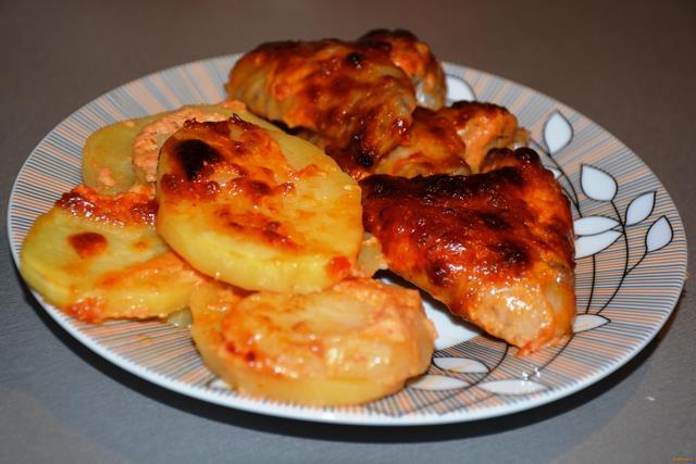 Рецепт Куриные крылышки запеченные с картошкой рецепт с фото