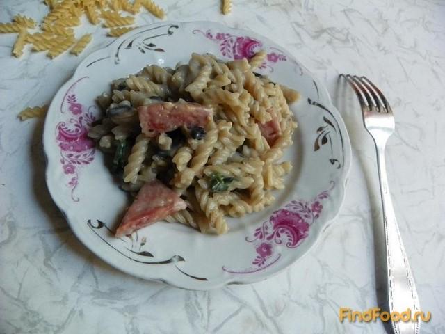 Рецепт Макароны с грибами и колбасой рецепт с фото