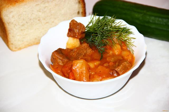 Рецепт Картофель тушеный с мясом рецепт с фото