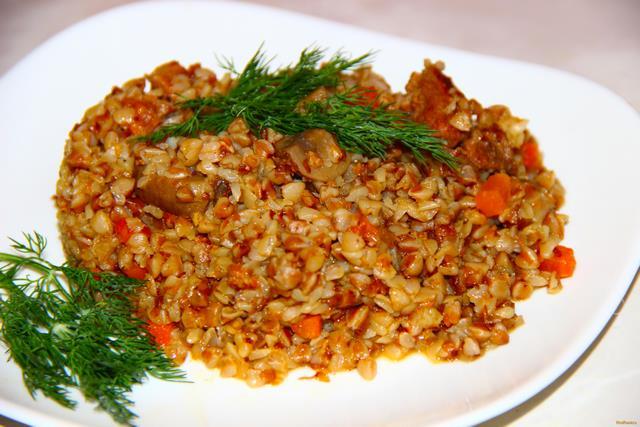 Рецепт Гречка по - купечески с мясом и грибами рецепт с фото