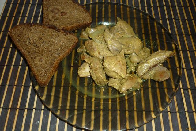 Рецепт Куриная печень со сливками и куркумой рецепт с фото