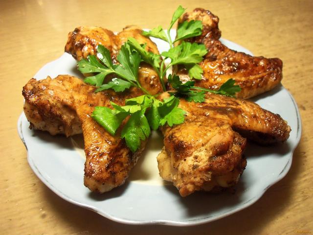 Рецепт Запеченные куриные крылышки с медом и соевым соусом рецепт с фото
