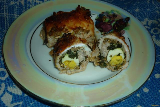 Рецепт Свиные рулетики с перепелиными яйцами рецепт с фото