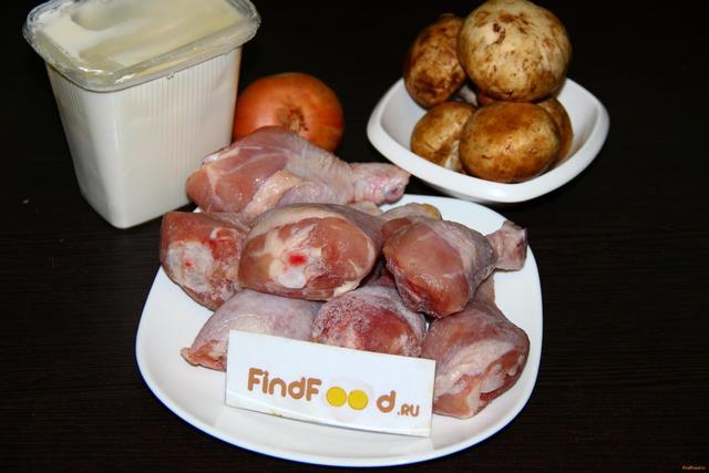 Что приготовить из куриной голени и грибов