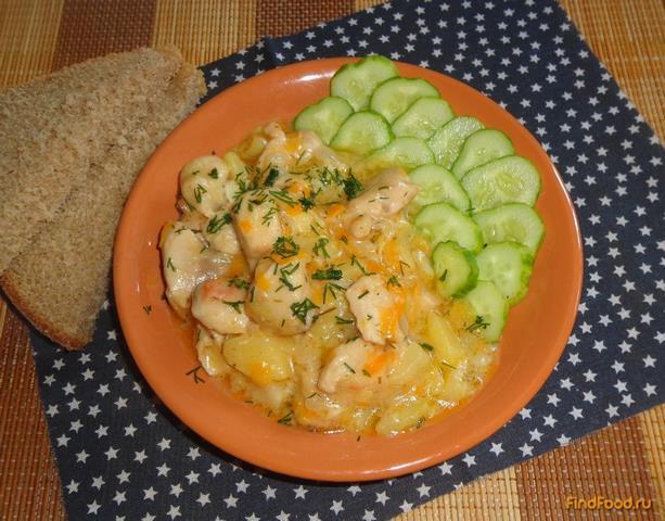 Куриная грудка тушеная с овощами рецепт с фото 17-го шага