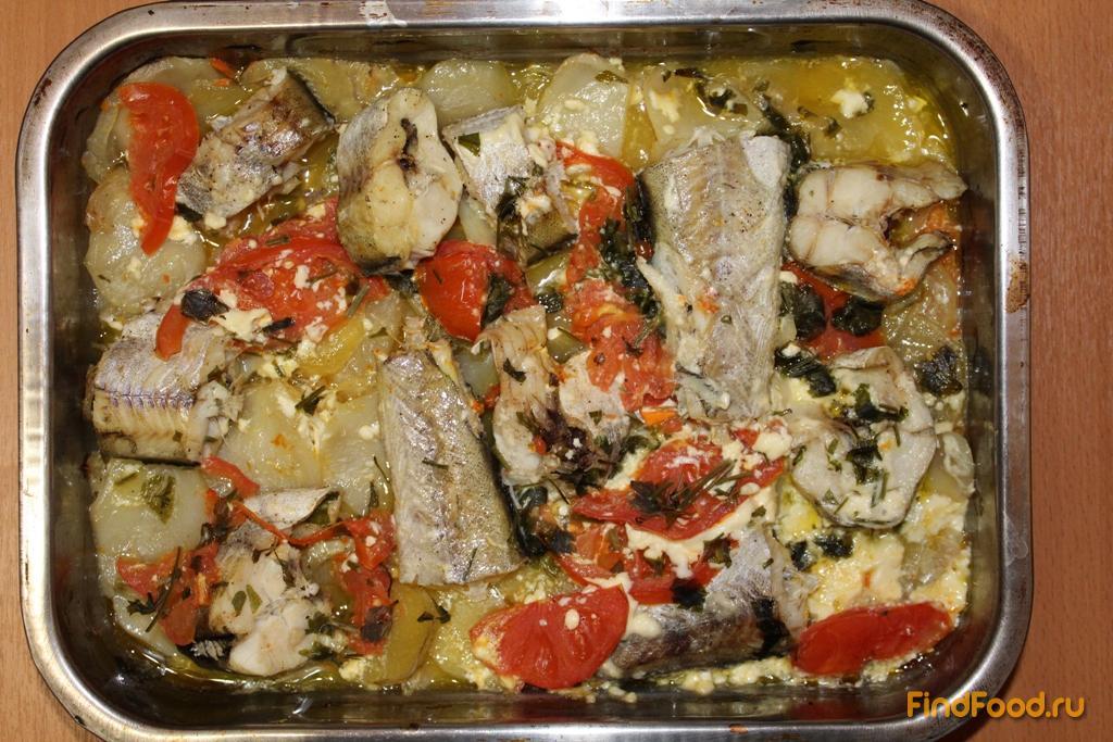 Запечённая рыба в духовке с овощами рецепт пошагово