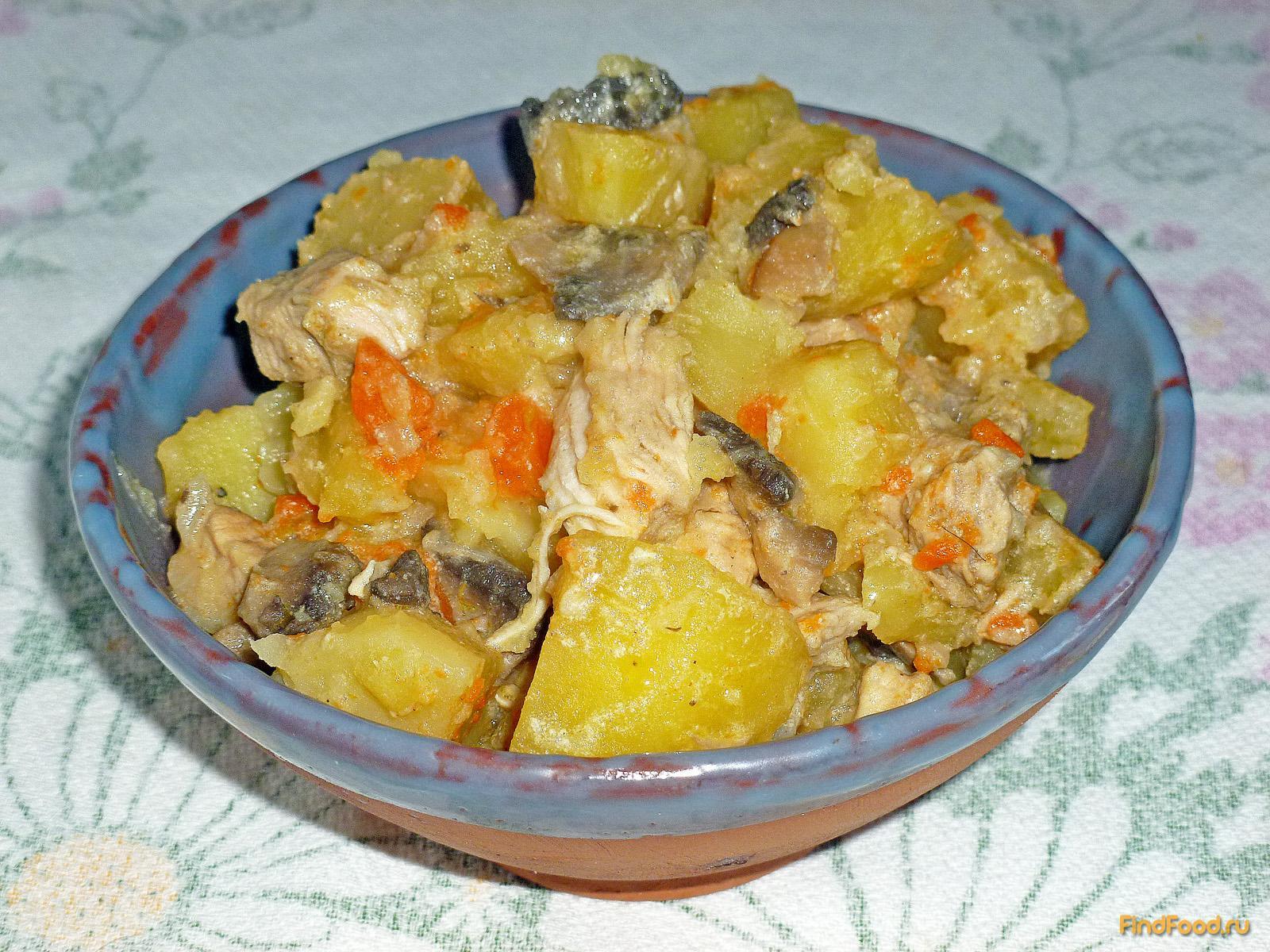 картофель с грибами и курицей в мультиварке рецепты с фото