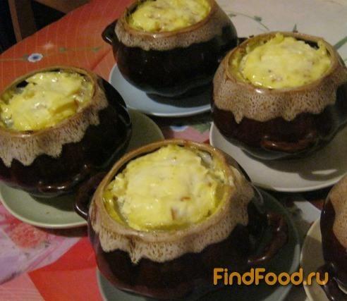 рецепт картошка в горшочках с мясом и грибами и сыром