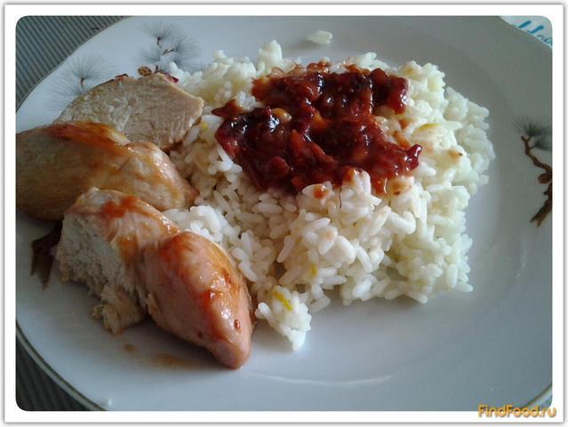 Рецепт Курица в клюквенном соусе с рисом на гарнир рецепт с фото