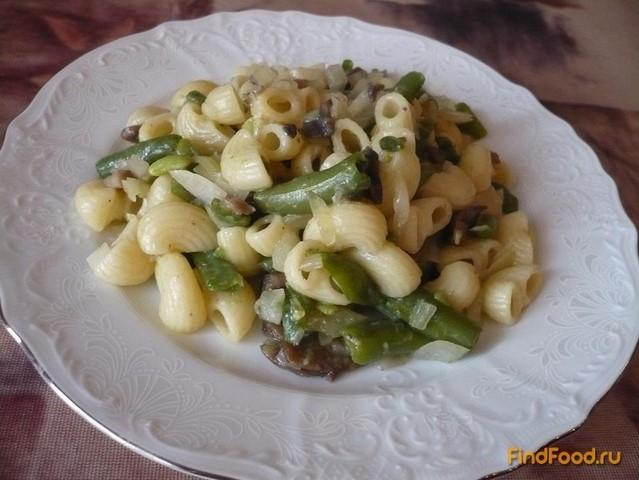 Рецепт Постные макароны со стручковой фасолью и грибами рецепт с фото