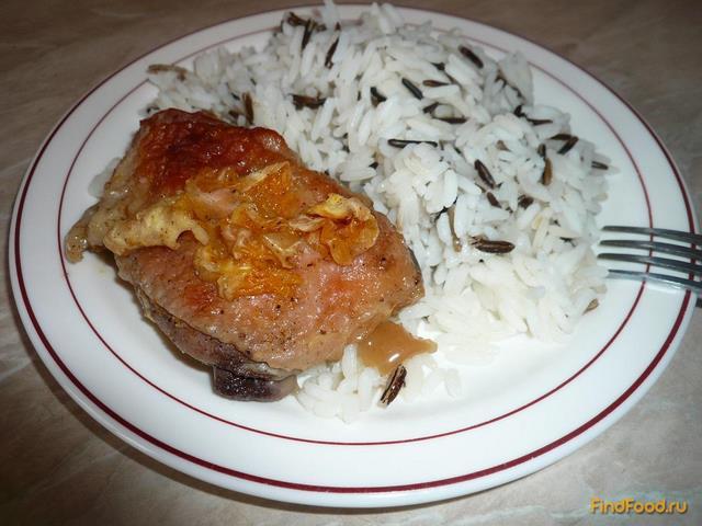 Рецепт Курица запеченная с мандаринами и медом рецепт с фото