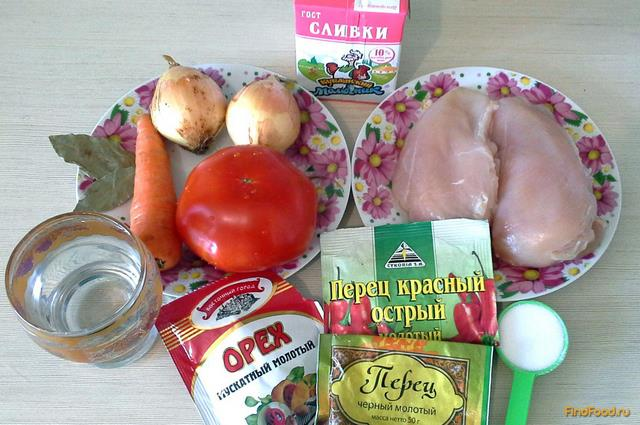 Гуляш из куриной грудки с помидорами рецепт с фото 1-го шага