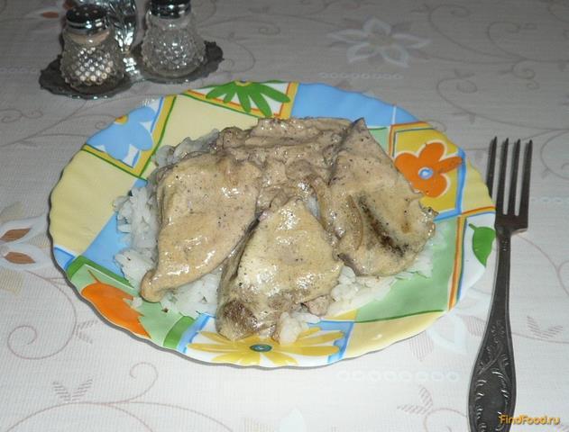 Рецепт Печень тушеная в сметанном соусе рецепт с фото