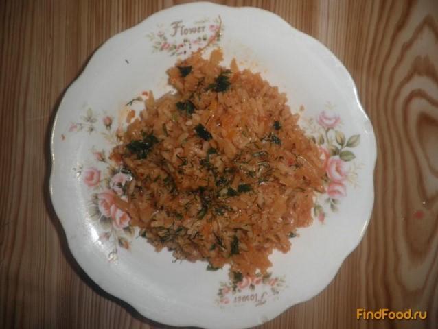 Рецепт Постная тушеная капуста с рисом рецепт с фото