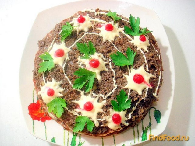 Печеночный торт с грибами рецепт фото