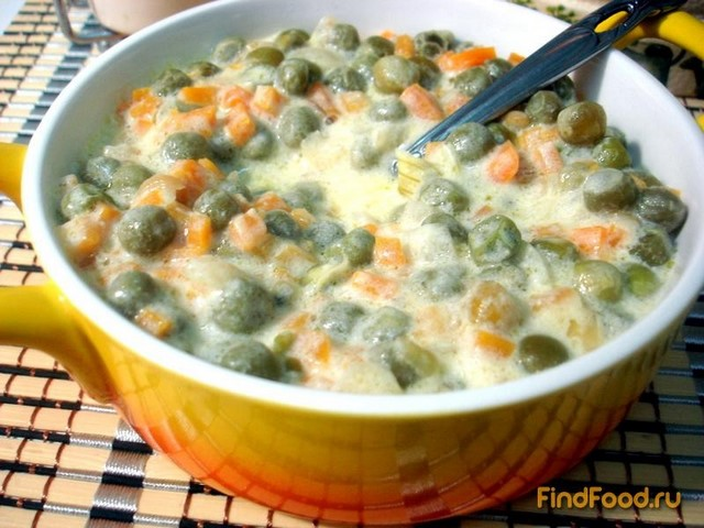 Рецепт Зелёный горошек с морковью в соусе рецепт с фото