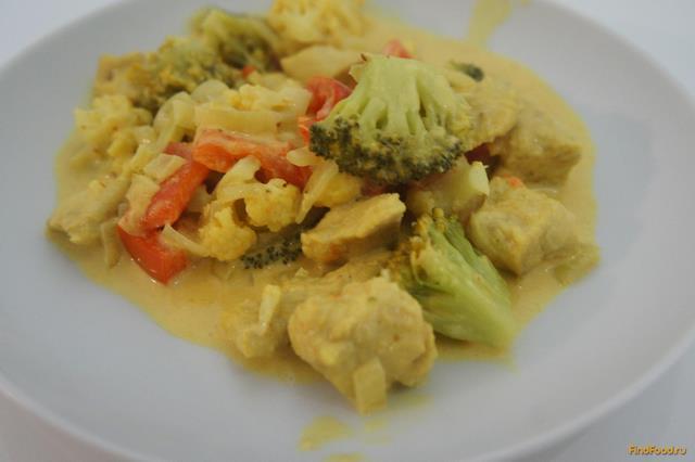Рецепт Куриное филе с овощами в соусе Карри рецепт с фото