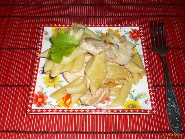 Рецепт Макароны с курицей в сырном соусе рецепт с фото