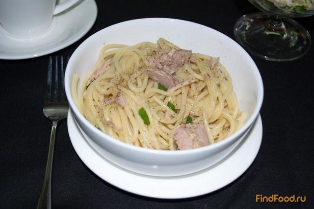 Рецепт Паста с тунцом и зеленым луком рецепт с фото