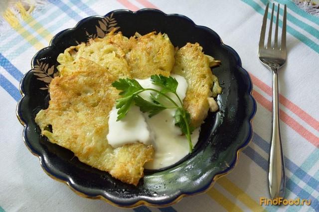 Рецепт Деруны из молодого картофеля с рубленной курицей рецепт с фото