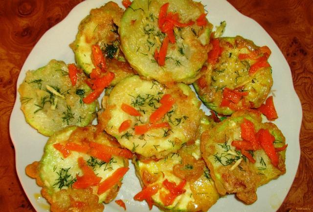 Рецепт Кабачки в кляре с морковью и чесноком рецепт с фото