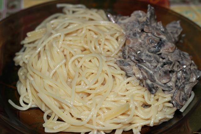 Рецепт Спагетти со сливочно-грибным соусом рецепт с фото