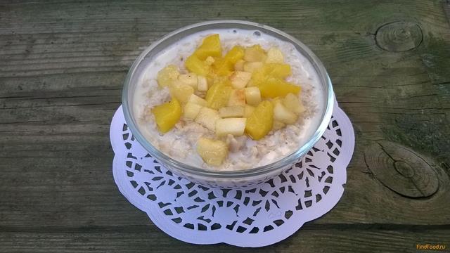 Рецепт Овсянка с персиком и яблоком рецепт с фото
