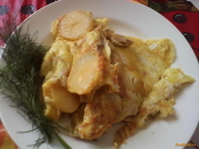 Рецепт Омлет с катофелем и отварной курицей рецепт с фото