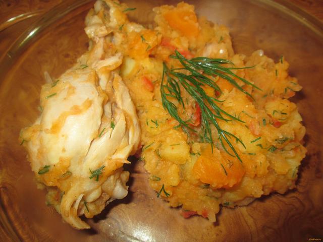 Рецепт Картошка с курицей тушеные в казане рецепт с фото