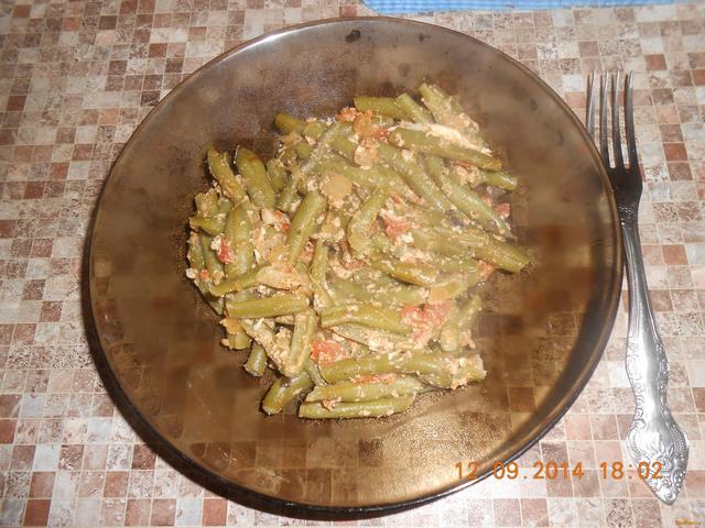 Рецепт Стручковая фасоль с помидором и яйцом рецепт с фото