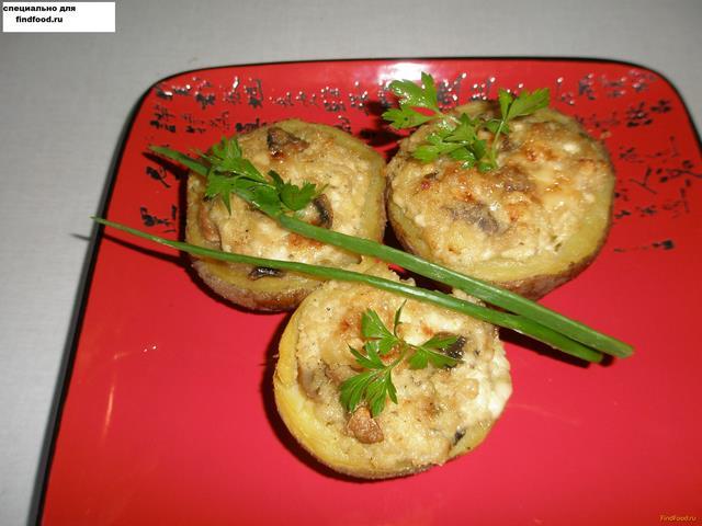 Рецепт запечённый картофель с сливочным сыром и грибами рецепт с фото