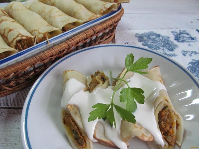 Рецепт Блинчики с начинкой из варенной говядины рецепт с фото