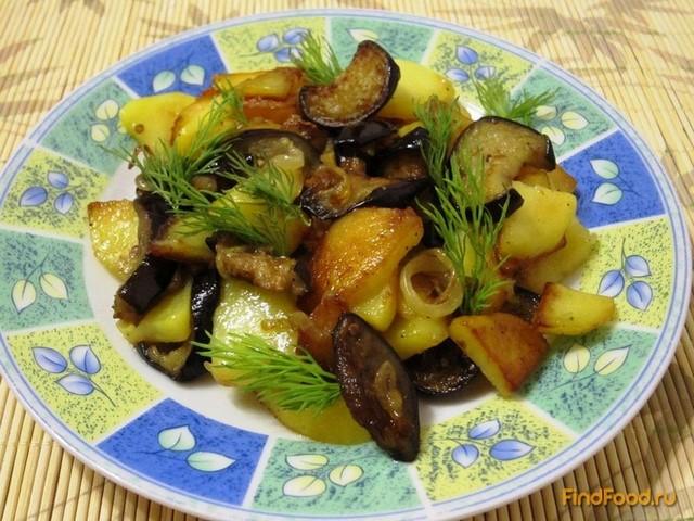 Рецепт Жареный картофель с баклажанами рецепт с фото