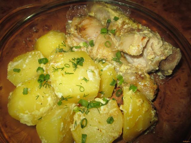 Рецепт Курица с картофелем запеченные в кулинарном рукаве рецепт с фото
