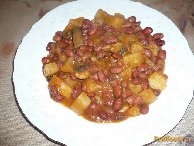 Рецепт Фасоль тушеная с картошкой и грибами рецепт с фото