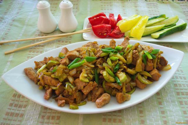 Рецепт Тушеная свинина с кабачком рецепт с фото
